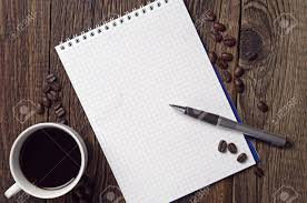 Opened Notepad, Pen And Coffee Cup On Dark Wooden Table, Top.. Stock Photo,  Picture And Royalty Free Image. Image 39929696.