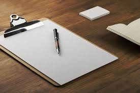 The clear pad, notepad and business cards with pen on a table. |  High-Quality Business Images ~ Creative Market